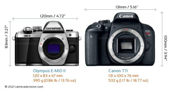 Olympus E-M10 II vs Canon T7i Camera Size Comparison - Front View