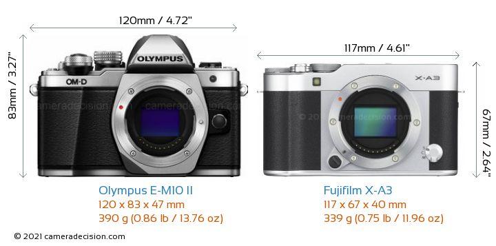 Olympus E-M10 II vs Fujifilm X-A3 Camera Size Comparison - Front View