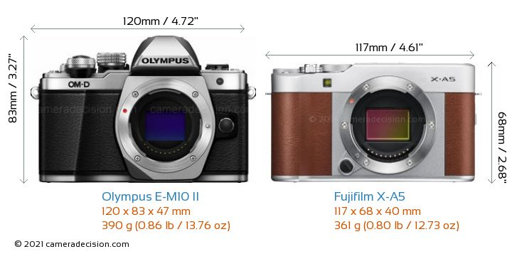 Olympus E-M10 II vs Fujifilm X-A5 Camera Size Comparison - Front View