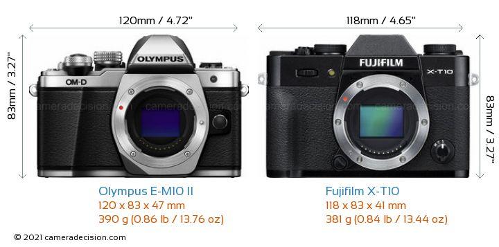 Olympus E-M10 II vs Fujifilm X-T10 Camera Size Comparison - Front View