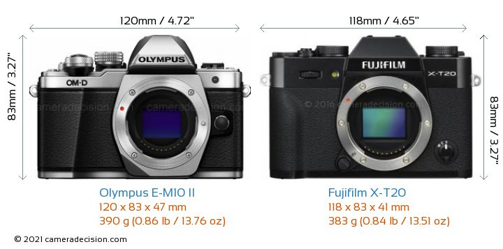 Olympus E-M10 II vs Fujifilm X-T20 Camera Size Comparison - Front View