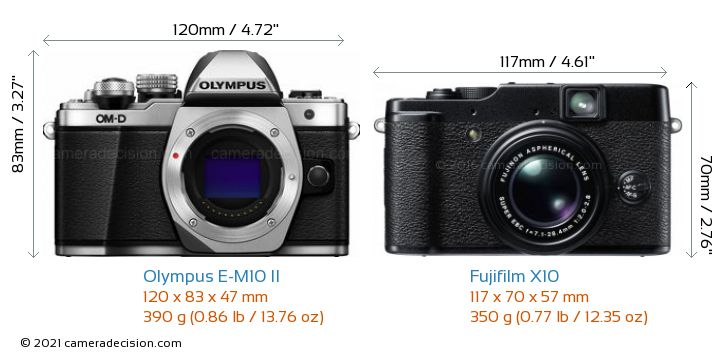 Olympus E-M10 II vs Fujifilm X10 Camera Size Comparison - Front View