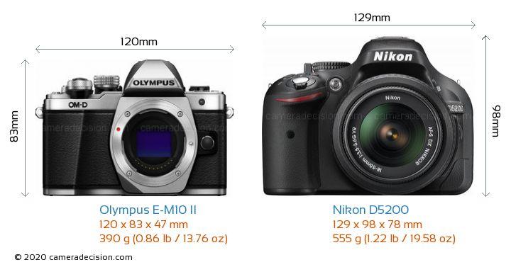 Olympus E-M10 II vs Nikon D5200 Camera Size Comparison - Front View