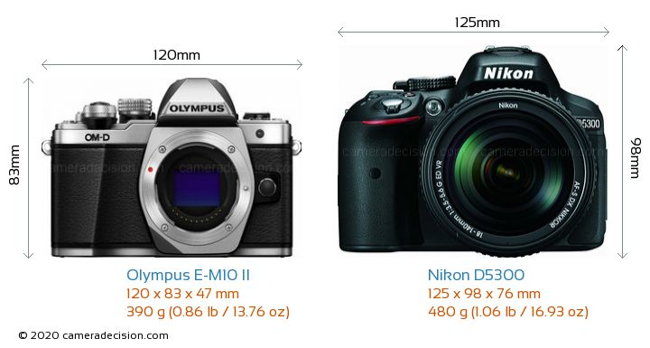 Olympus E-M10 II vs Nikon D5300 Camera Size Comparison - Front View