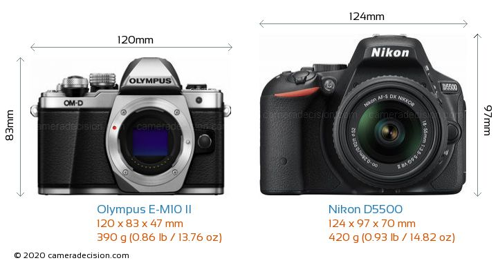 Olympus E-M10 II vs Nikon D5500 Camera Size Comparison - Front View