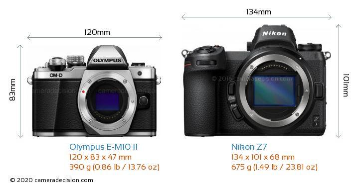 Olympus E-M10 II vs Nikon Z7 Camera Size Comparison - Front View