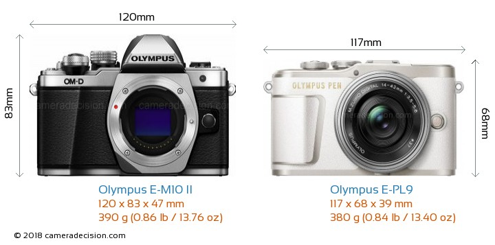 Olympus E-M10 II vs Olympus E-PL9 Camera Size Comparison - Front View