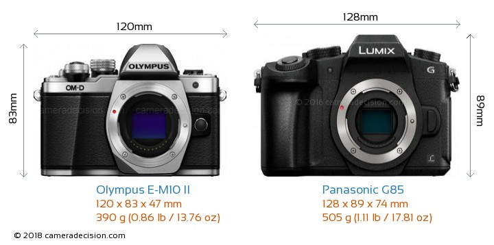 Olympus E-M10 II vs Panasonic G85 Camera Size Comparison - Front View