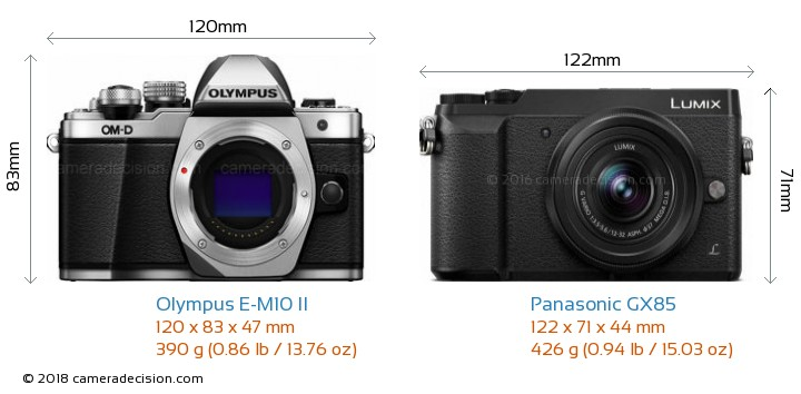 Olympus E-M10 II vs Panasonic GX85 Camera Size Comparison - Front View