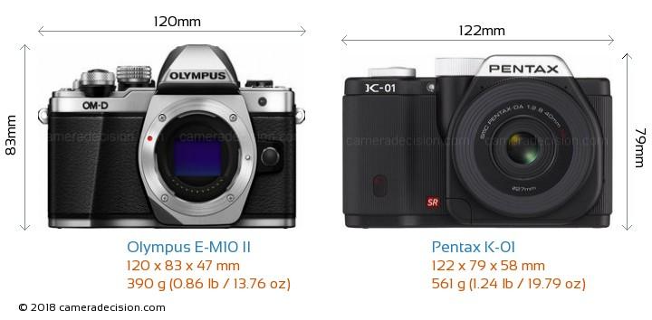 Olympus E-M10 II vs Pentax K-01 Camera Size Comparison - Front View