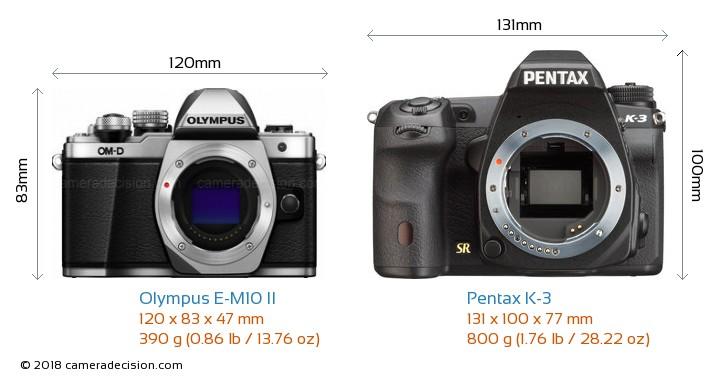 Olympus E-M10 II vs Pentax K-3 Camera Size Comparison - Front View