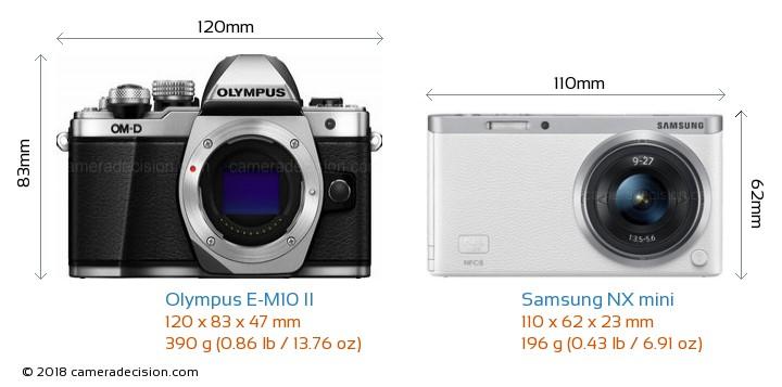 Olympus E-M10 II vs Samsung NX mini Camera Size Comparison - Front View