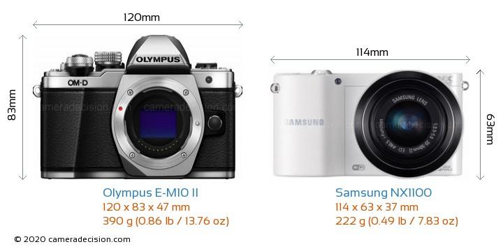 Olympus E-M10 II vs Samsung NX1100 Camera Size Comparison - Front View