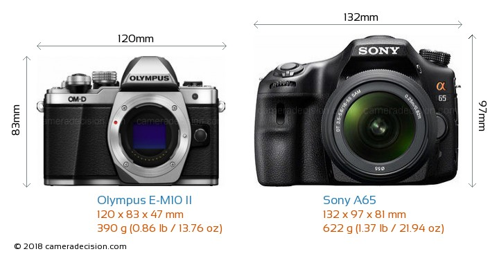 Olympus E-M10 II vs Sony A65 Camera Size Comparison - Front View