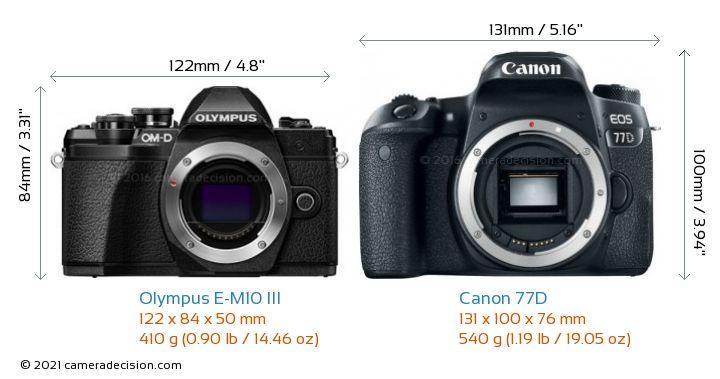 Olympus E-M10 MIII vs Canon 77D Camera Size Comparison - Front View