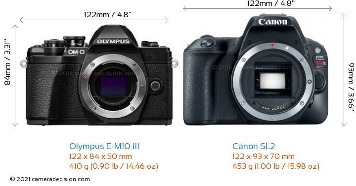 Olympus E-M10 MIII vs Canon SL2 Camera Size Comparison - Front View