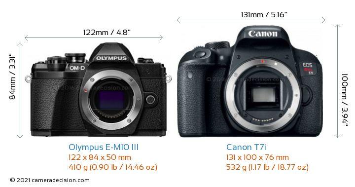 Olympus E-M10 MIII vs Canon T7i Camera Size Comparison - Front View