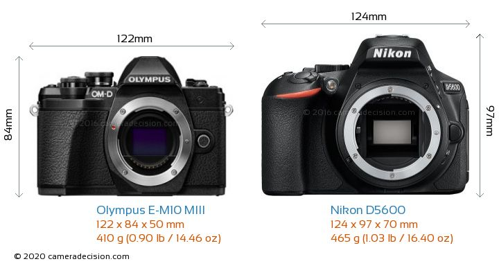 Olympus E-M10 MIII vs Nikon D5600 Camera Size Comparison - Front View