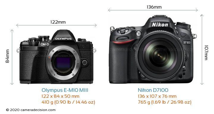 Olympus E-M10 MIII vs Nikon D7100 Camera Size Comparison - Front View