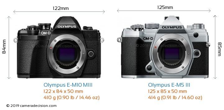 Olympus E-M10 MIII vs Olympus E-M5 III Camera Size Comparison - Front View
