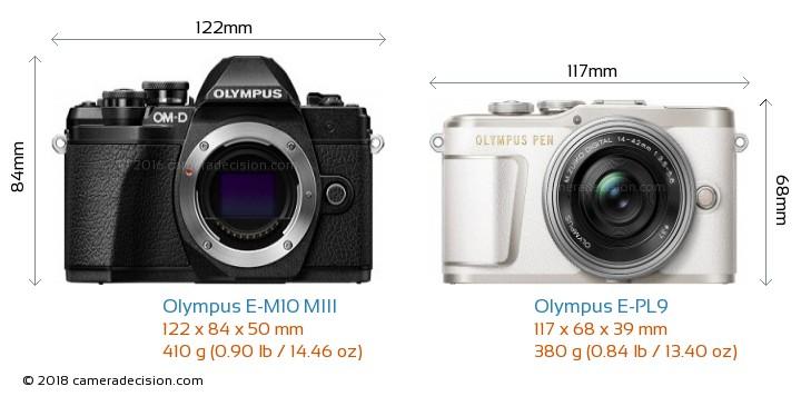 Olympus E-M10 MIII vs Olympus E-PL9 Camera Size Comparison - Front View