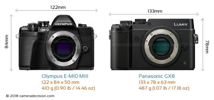 Olympus E-M10 MIII vs Panasonic GX8 Camera Size Comparison - Front View