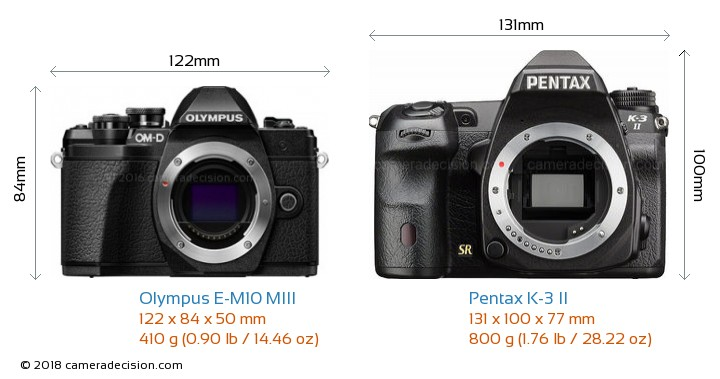 Olympus E-M10 MIII vs Pentax K-3 II Camera Size Comparison - Front View