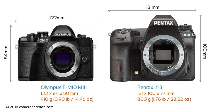 Olympus E-M10 MIII vs Pentax K-3 Camera Size Comparison - Front View