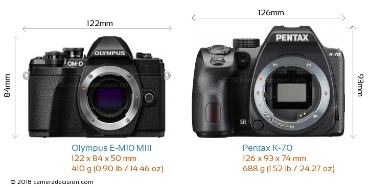 Olympus E-M10 MIII vs Pentax K-70 Camera Size Comparison - Front View