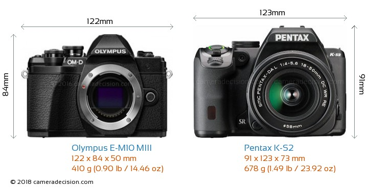Olympus E-M10 MIII vs Pentax K-S2 Camera Size Comparison - Front View