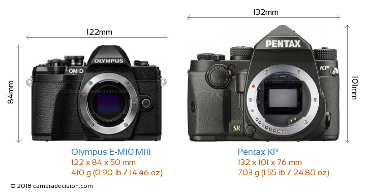 Olympus E-M10 MIII vs Pentax KP Camera Size Comparison - Front View