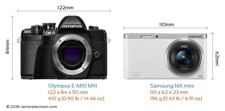Olympus E-M10 MIII vs Samsung NX mini Camera Size Comparison - Front View