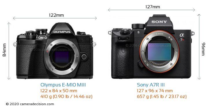 Olympus E-M10 MIII vs Sony A7R III Camera Size Comparison - Front View