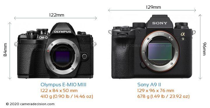 Olympus E-M10 MIII vs Sony A9 II Camera Size Comparison - Front View