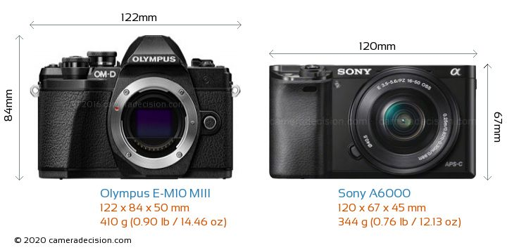 Olympus E-M10 MIII vs Sony A6000 Camera Size Comparison - Front View