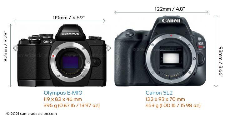 Olympus E-M10 vs Canon SL2 Camera Size Comparison - Front View