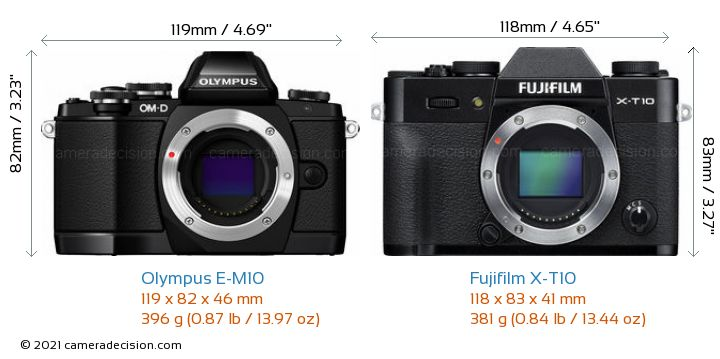 Olympus E-M10 vs Fujifilm X-T10 Camera Size Comparison - Front View