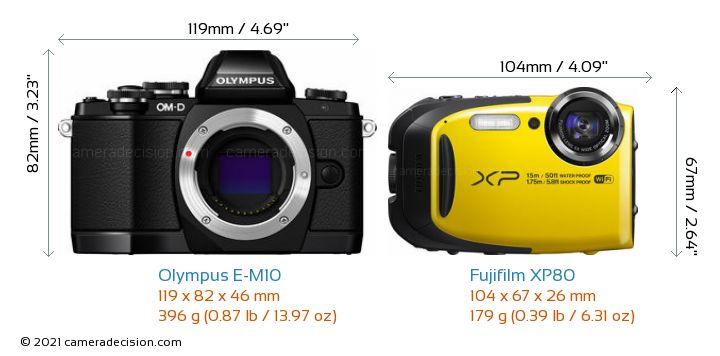 Olympus E-M10 vs Fujifilm XP80 Camera Size Comparison - Front View