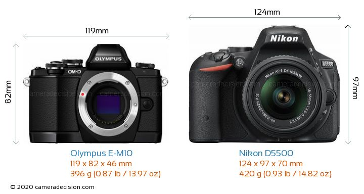 Olympus E-M10 vs Nikon D5500 Camera Size Comparison - Front View