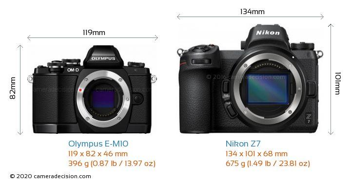 Olympus E-M10 vs Nikon Z7 Camera Size Comparison - Front View