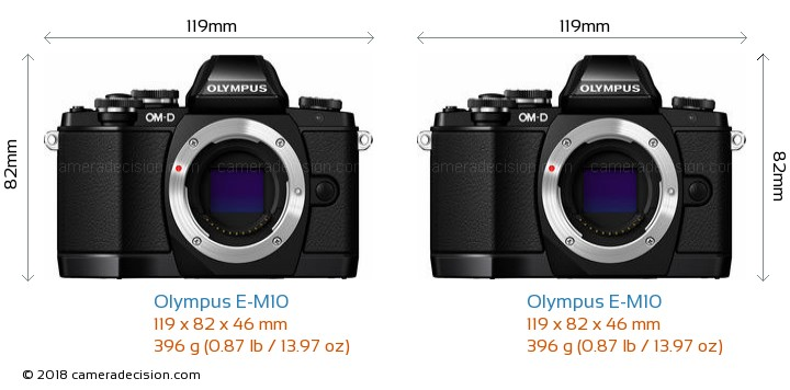 Olympus E-M10 vs Olympus E-M10 Camera Size Comparison - Front View