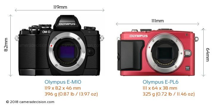 Olympus E-M10 vs Olympus E-PL6 Camera Size Comparison - Front View