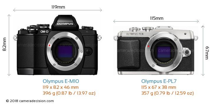 Olympus E-M10 vs Olympus E-PL7 Camera Size Comparison - Front View
