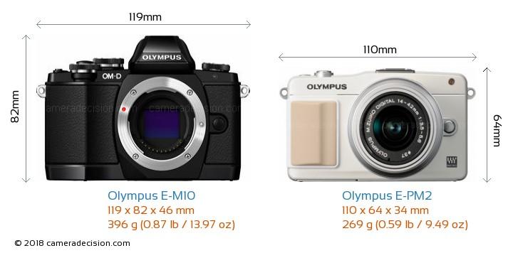 Olympus E-M10 vs Olympus E-PM2 Camera Size Comparison - Front View