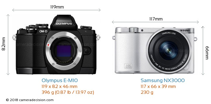 Olympus E-M10 vs Samsung NX3000 Camera Size Comparison - Front View