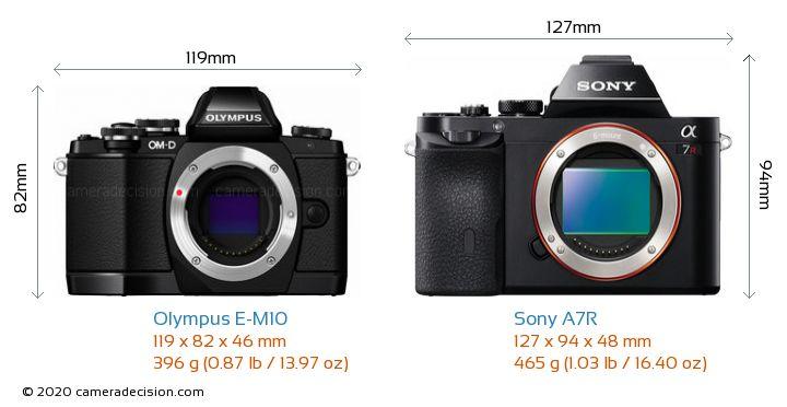 Olympus E-M10 vs Sony A7R Camera Size Comparison - Front View
