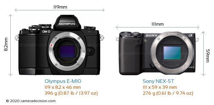 Olympus E-M10 vs Sony NEX-5T Camera Size Comparison - Front View