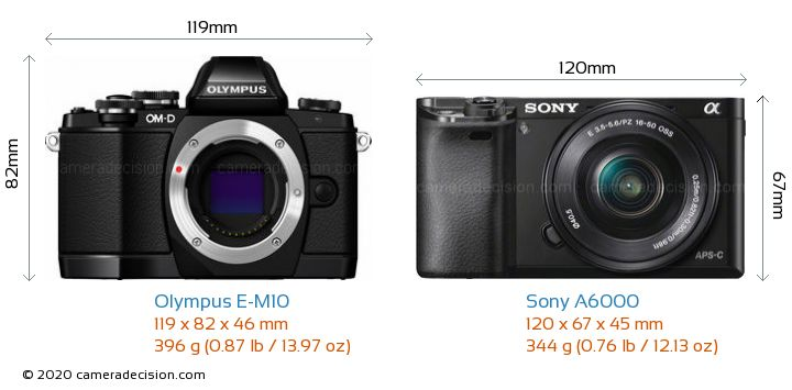 Olympus E-M10 vs Sony A6000 Camera Size Comparison - Front View
