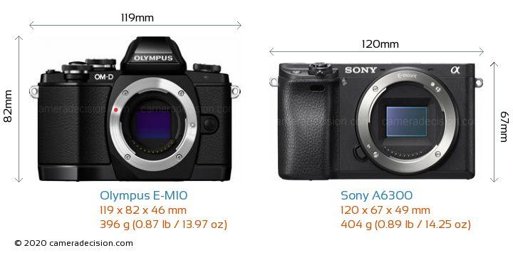 Olympus E-M10 vs Sony A6300 Camera Size Comparison - Front View