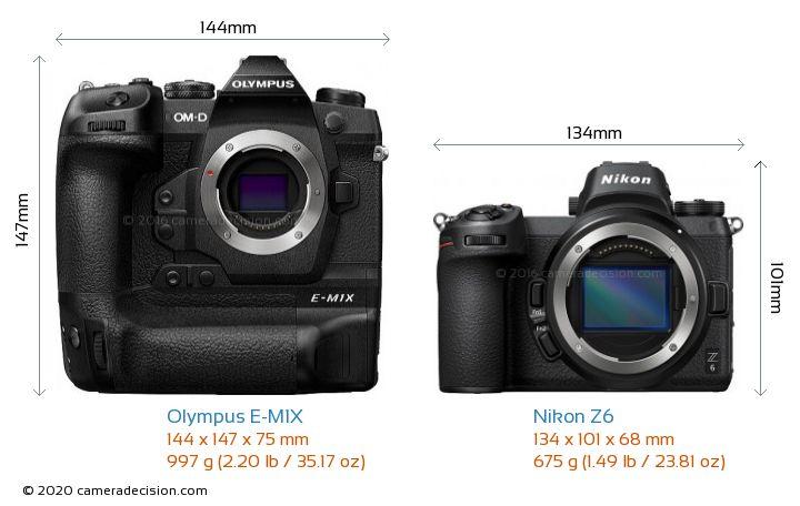 Olympus E-M1X vs Nikon Z6 Camera Size Comparison - Front View